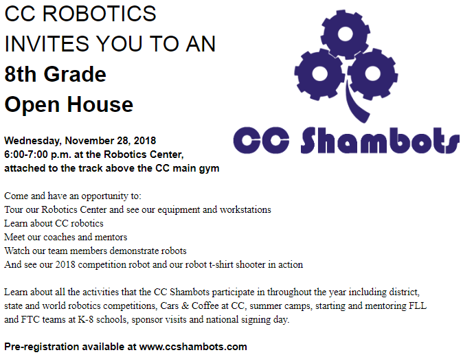 8th Grade Open House Invitation